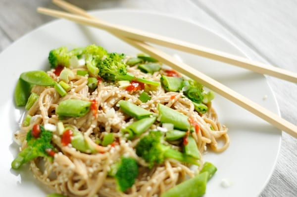 Image of Quick Sesame Noodles with Green Veggies