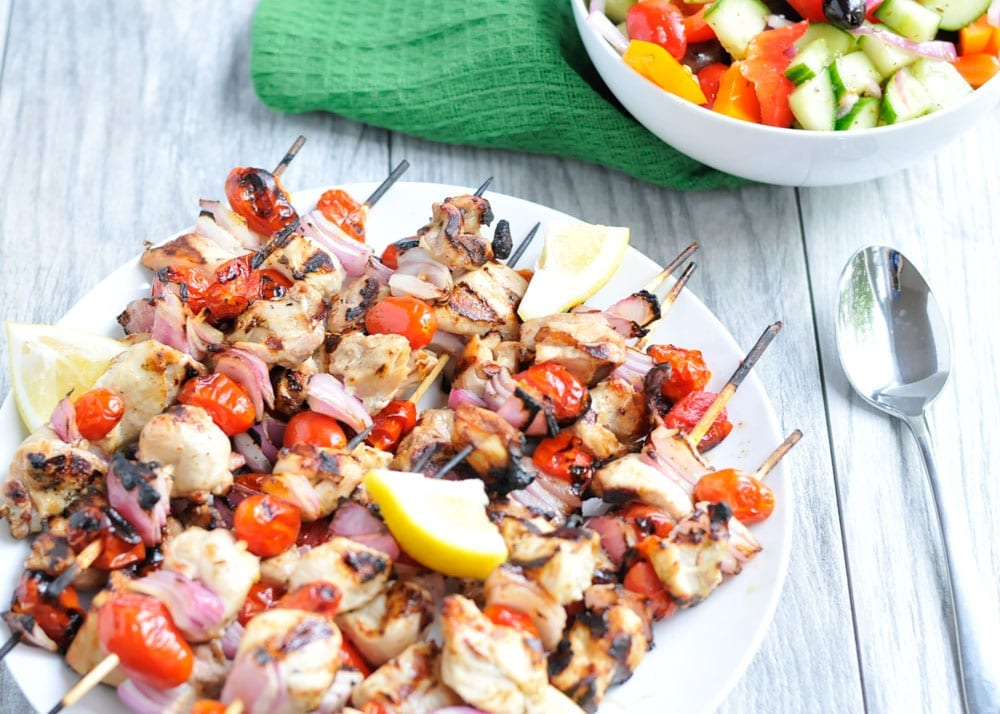 Image of Lemony Chicken Skewers with Greek Chopped Salad
