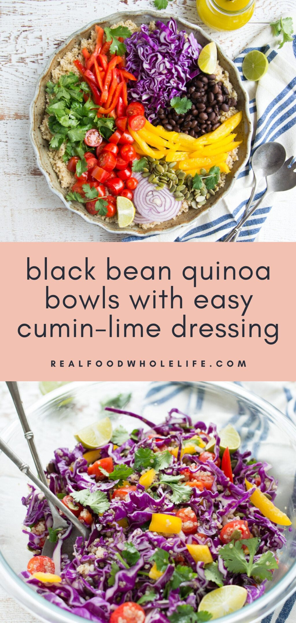 quinoa salads shown in two bowls on white table with striped napkins and pink background with navy text