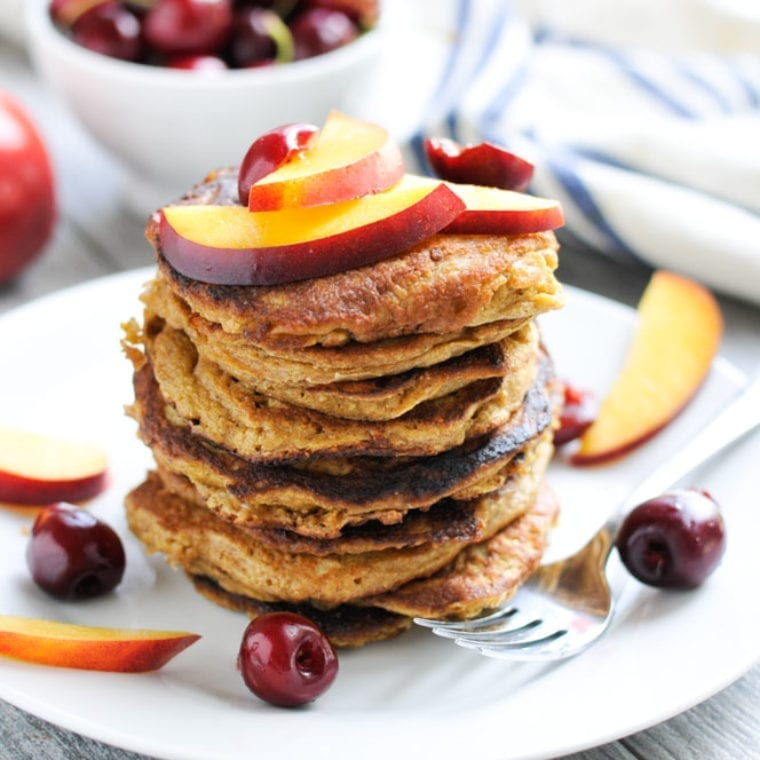 Image of Oatmeal Pancakes with Nectarines and Cherries