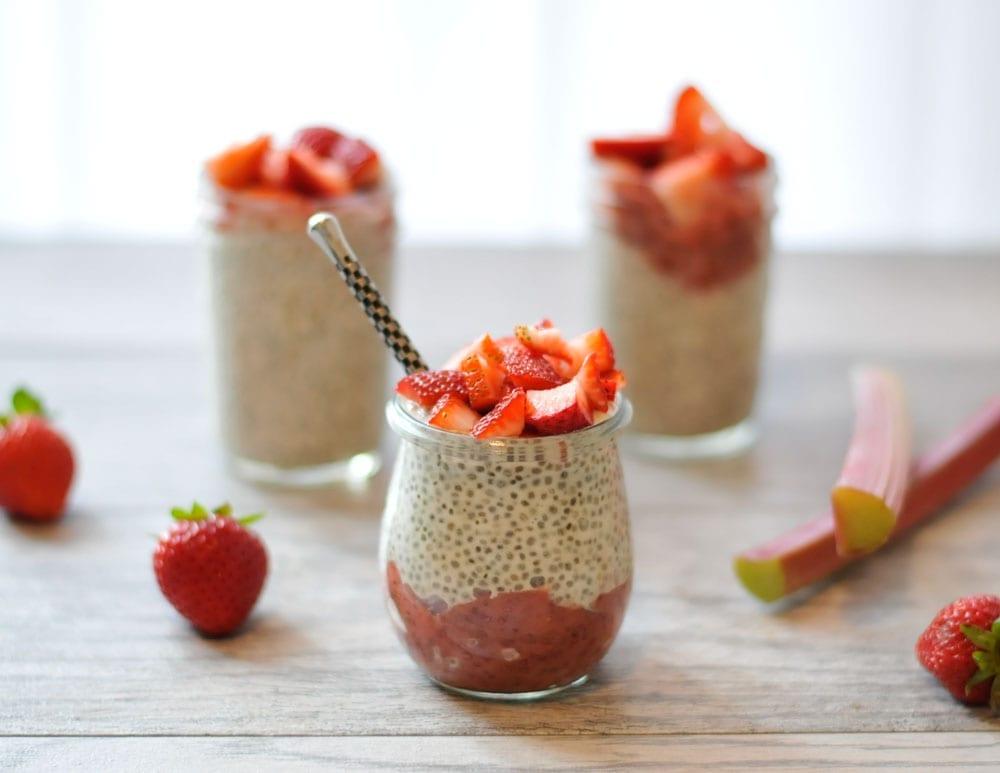 Image of Strawberry Rhubarb Chia Seed Pudding Parfaits