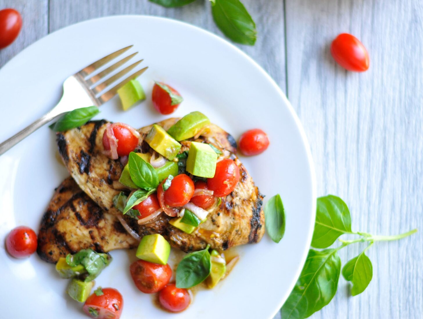 Image of Balsamic Grilled Chicken with Avocado Cherry Tomato Salad