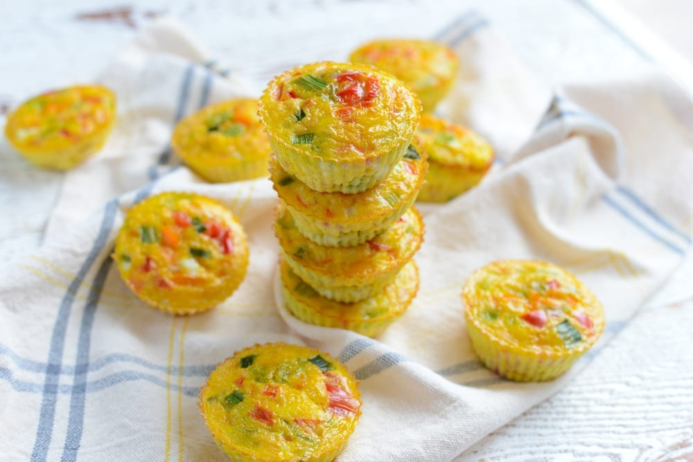 Image of Make Ahead Rainbow Veggie Egg Cups