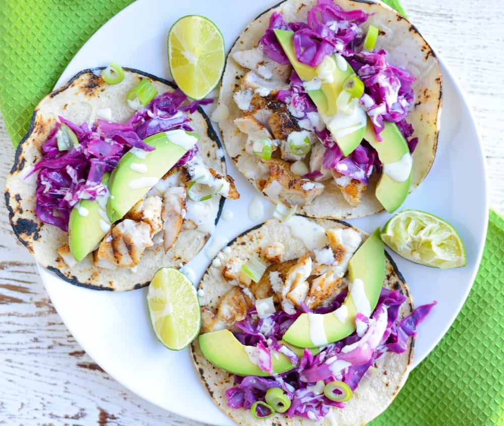 Image of Easy Fish Tacos with Honey-Lime Cabbage Slaw