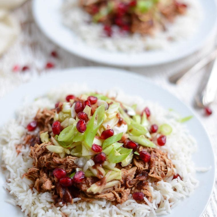 Image of Slow Cooker Pomegranate BBQ Chicken with Crunchy Apple Slaw