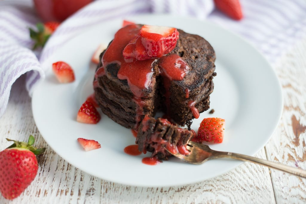 Image of One-Bowl Chocolate Pancakes with Strawberry Syrup