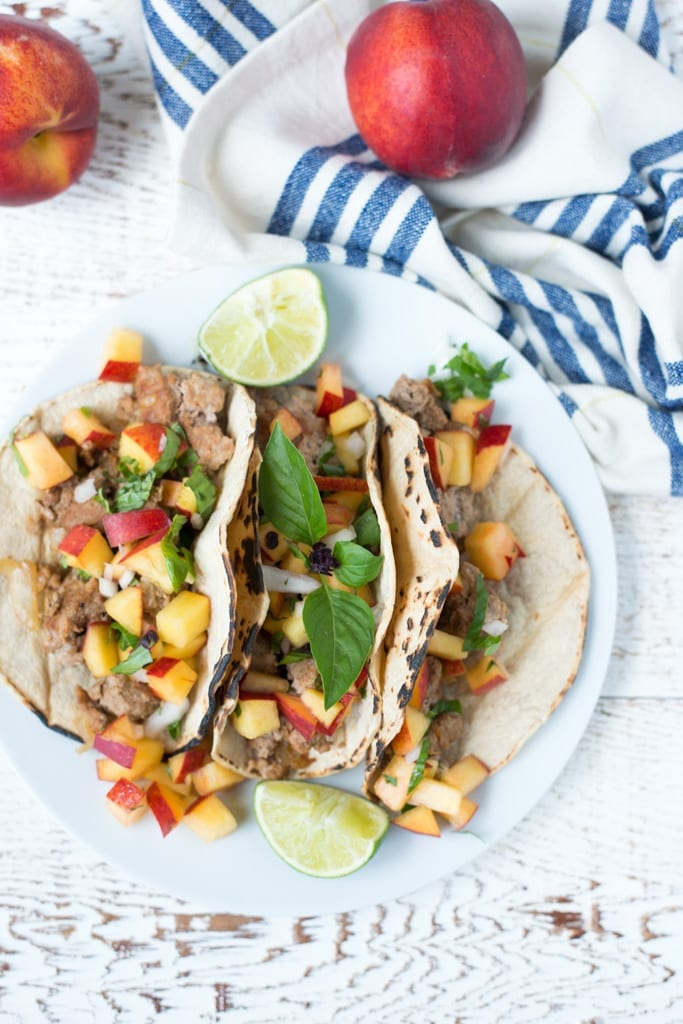 Image of 20-Minute Turkey Tacos with Peach Basil Salsa