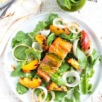 Image of Grilled Salmon Salad with Sweet Basil Vinaigrette