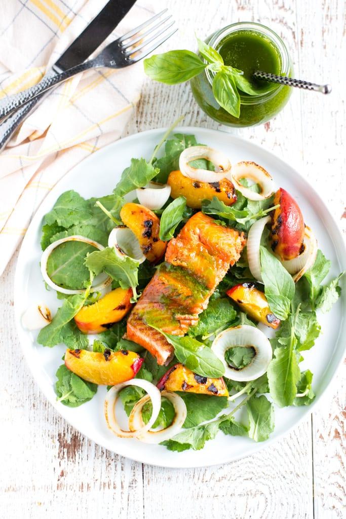 Image of Grilled Salmon Salad with Sweet Basil Vinaigrette
