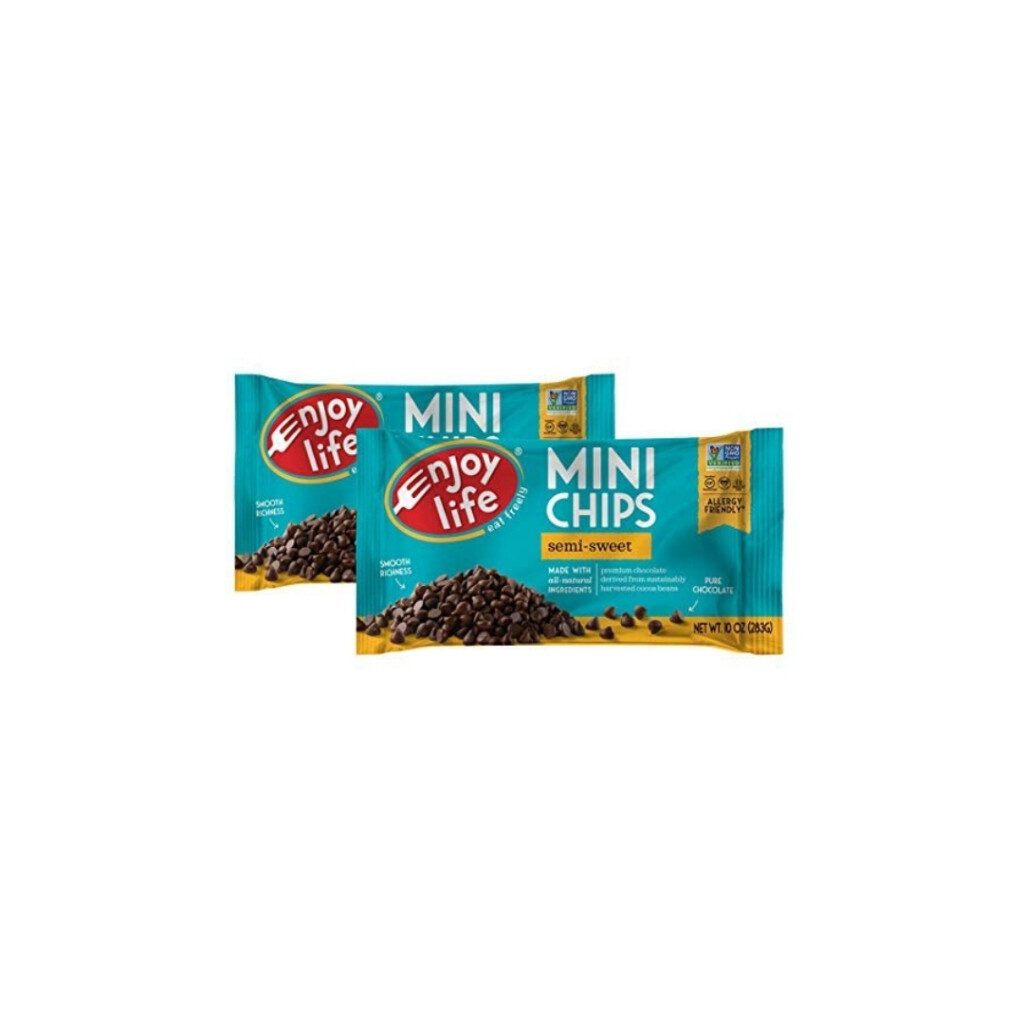 two bags of chocolate chips on white background