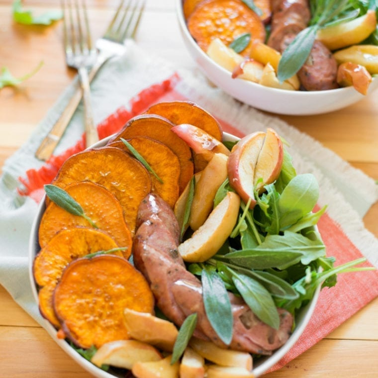 Image of Roasted Sweet Potato, Apple and Chicken Sausage Bowls