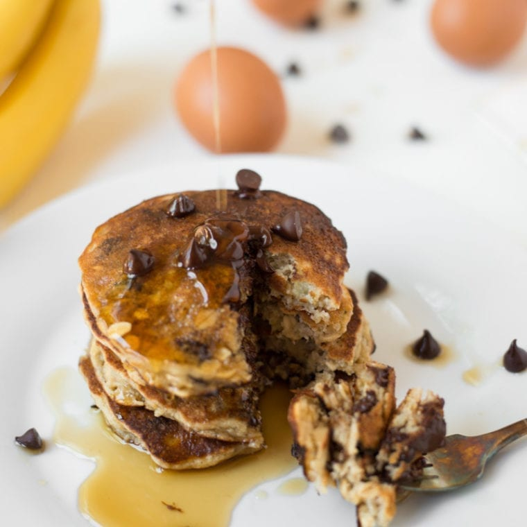 Image of One-Bowl Chocolate Chip Banana Pancakes
