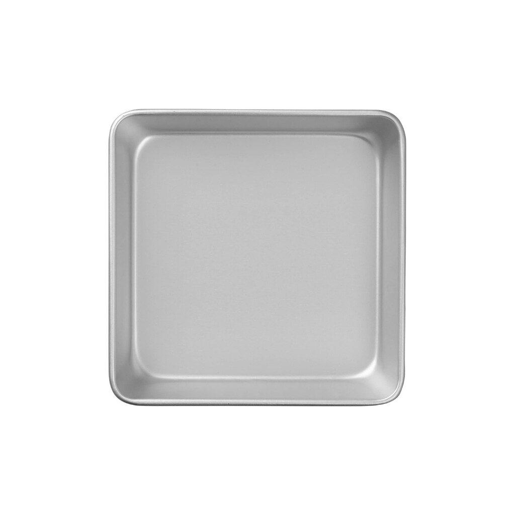 square non stick baking pan on white background