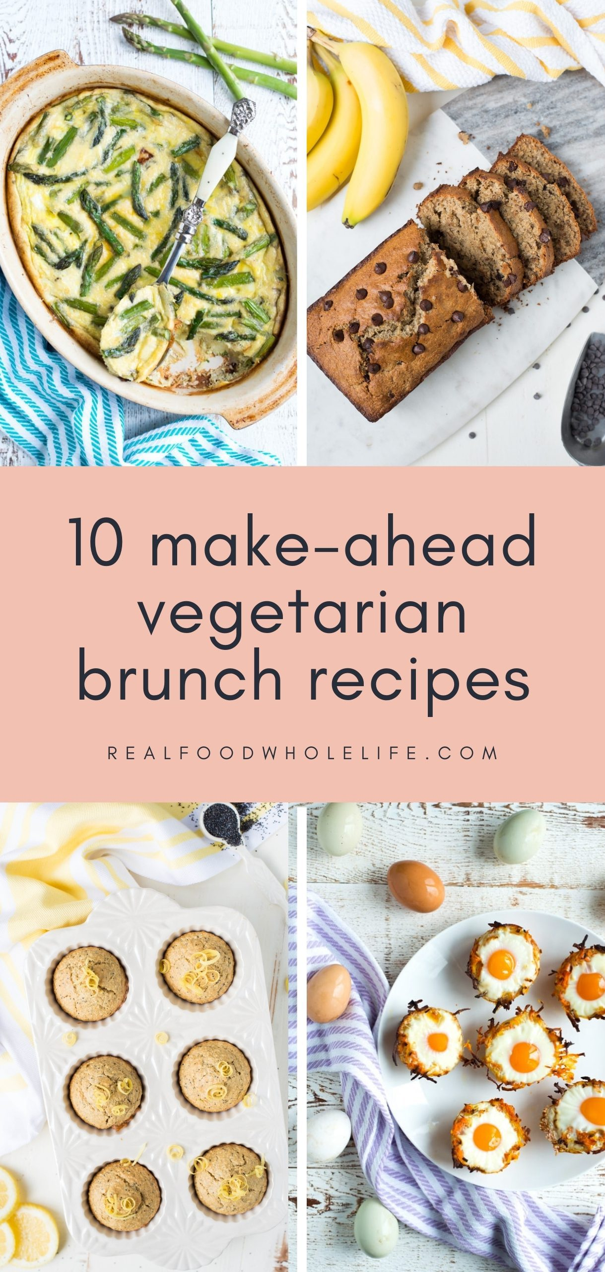 egg bake, banana bread, poppy seed muffins, and egg nests with pink background and black text