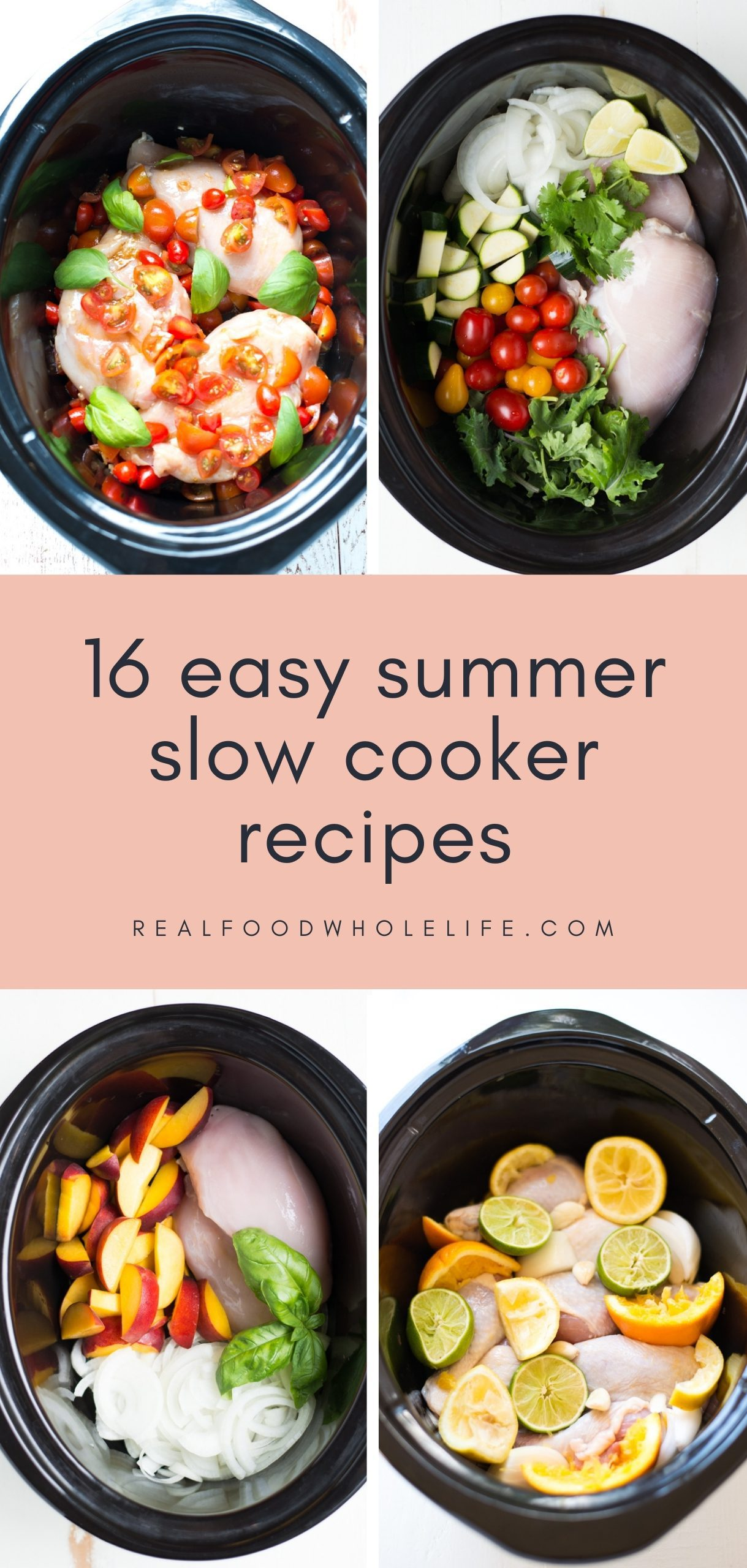 four black slow cookers with chicken and summer veggies and fruits inside with pink background and navy text
