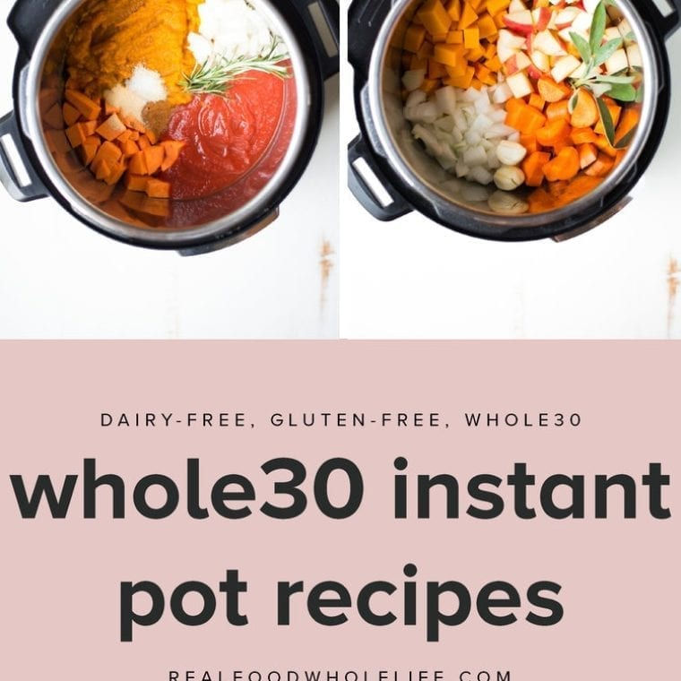 four whole30 instant pot recipes in black pressure cookers on white background with text