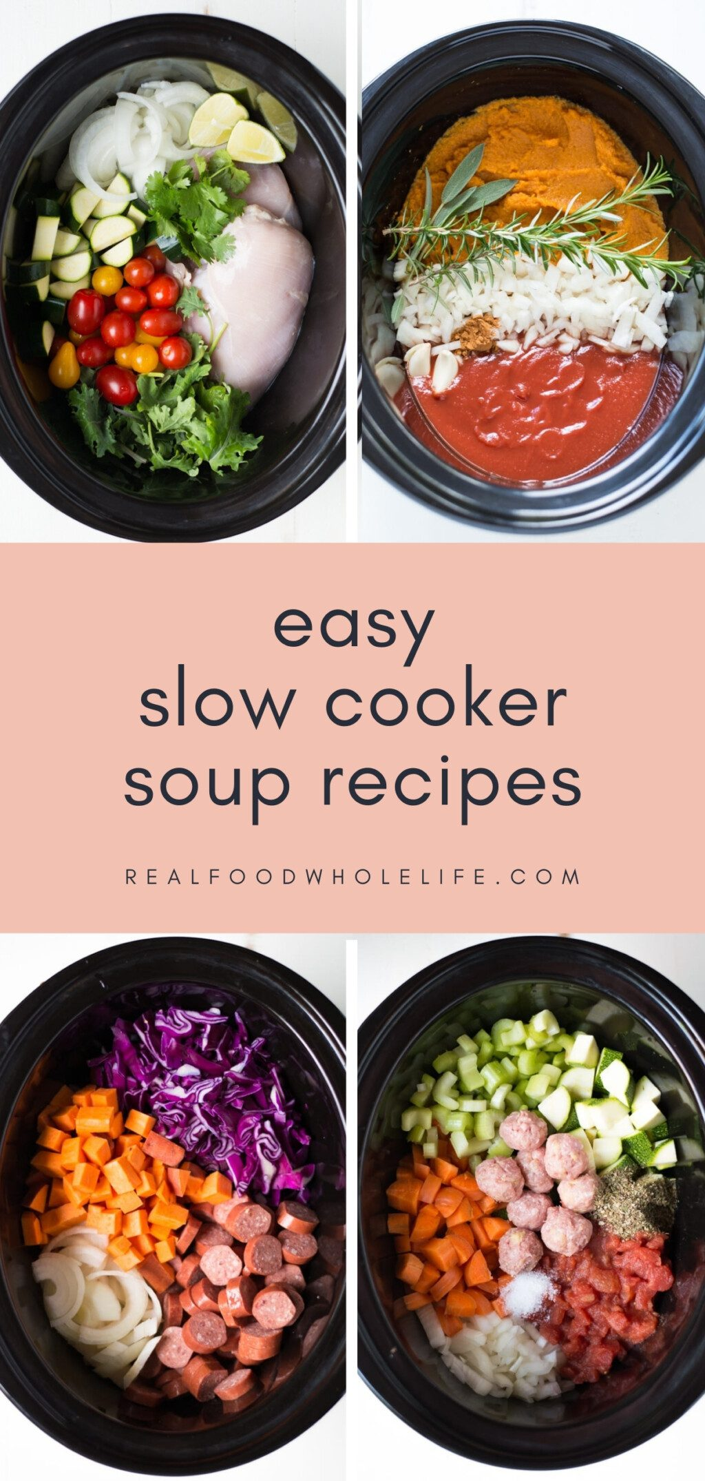 four slow cooker soup recipes shown in black crockpots with pink background
