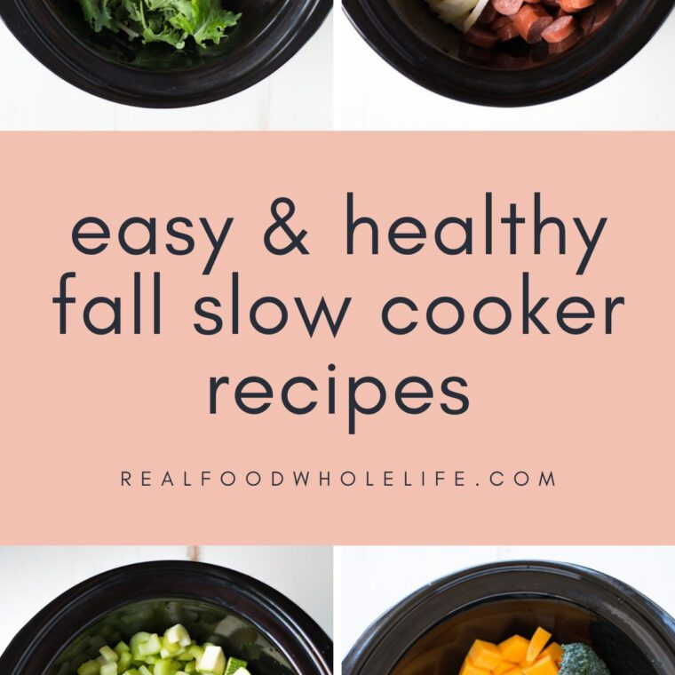 four fall slow cooker recipes shown in black crockpots with text