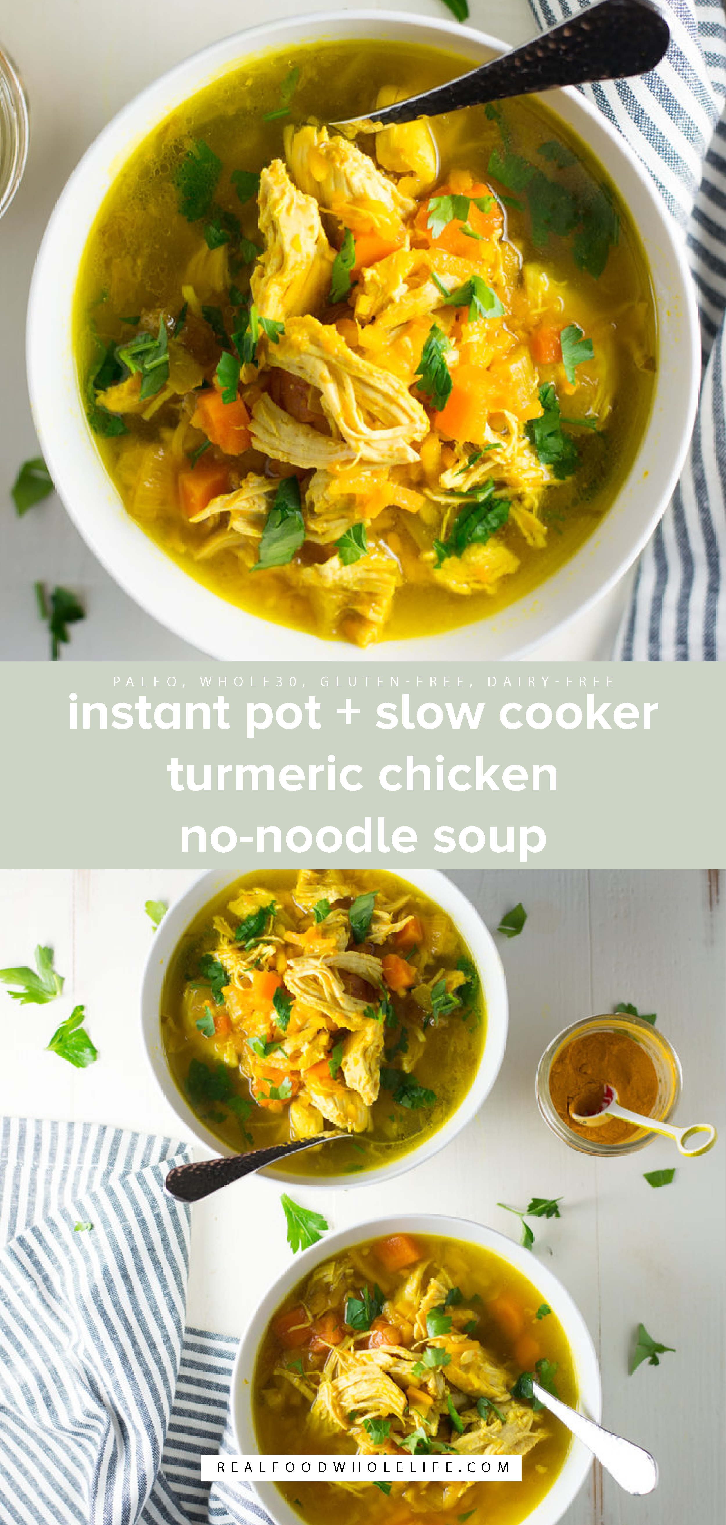 two images of instant pot chicken noodle soup with green background and white text
