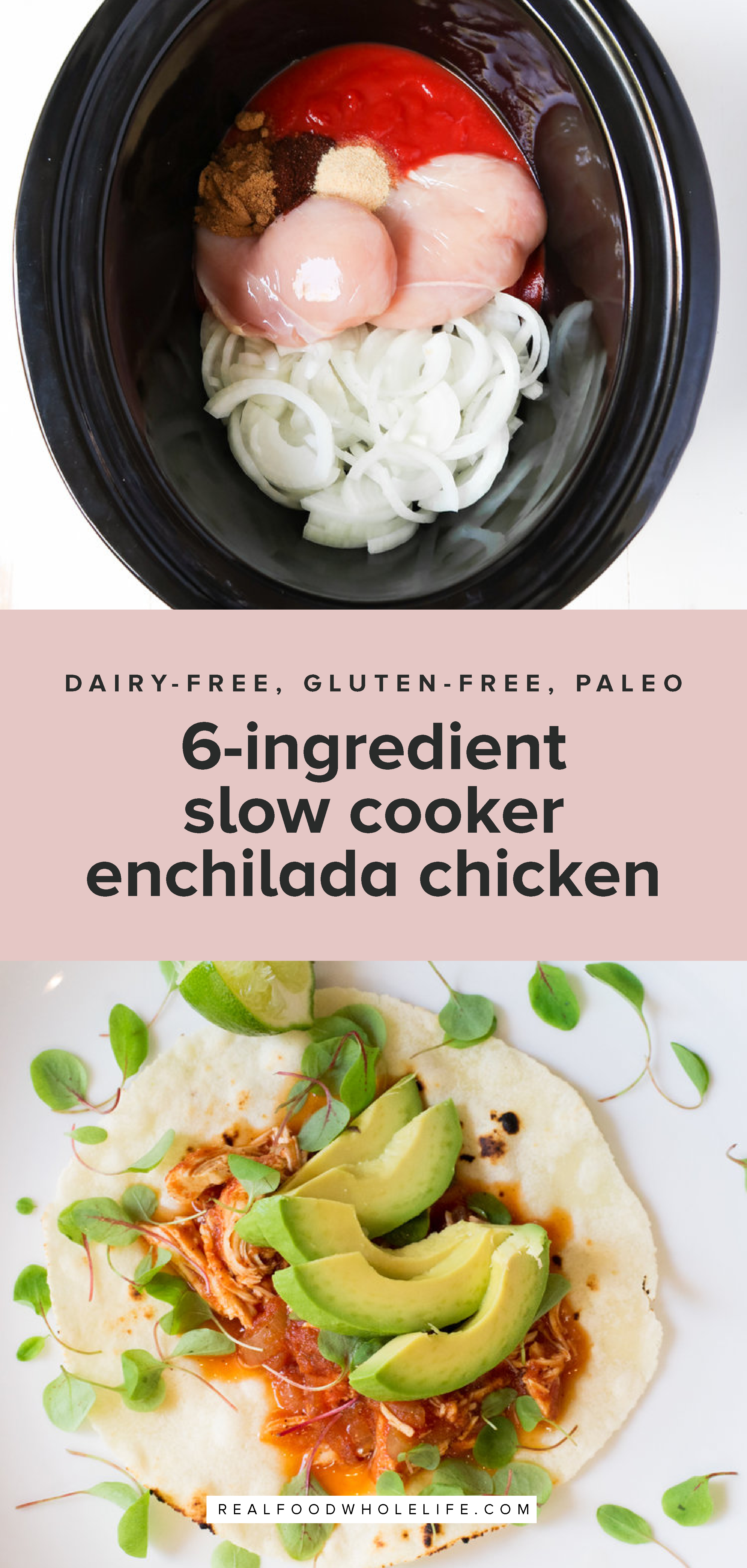 6-Ingredient Slow Cooker Enchilada Chicken is a totally simple, completely delicious weeknight crockpot recipe that everyone will love!