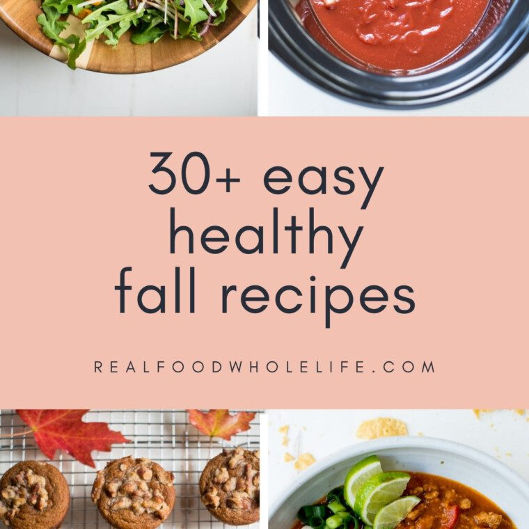 collage of four easy fall recipes with pink background and navy text