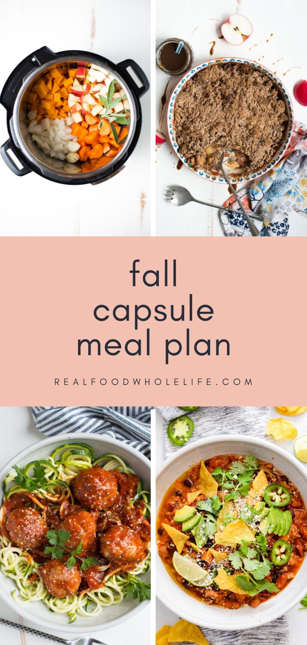 collage of four fall recipes with pink background and navy text