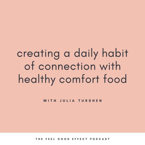 black text on a a pink background that reads creating a daily habit of connection with healthy comfort food with julia turshen