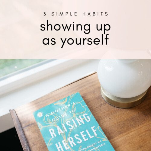 raising herself book on nightstand with text on pink background