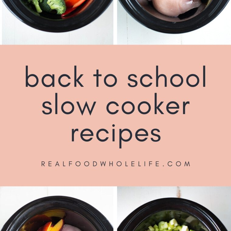 four back to school crockpot dishes in black slow cookers on white backgrounds