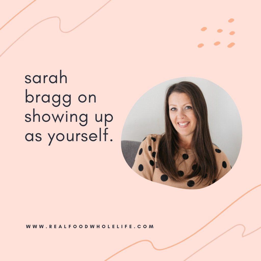headshot of sarah bragg on pink background
