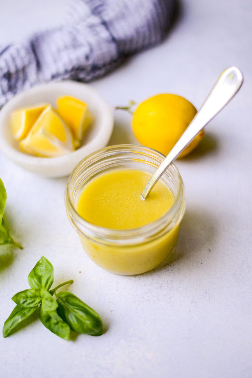 easy lemon vinaigrette dressing in a glass mason jar