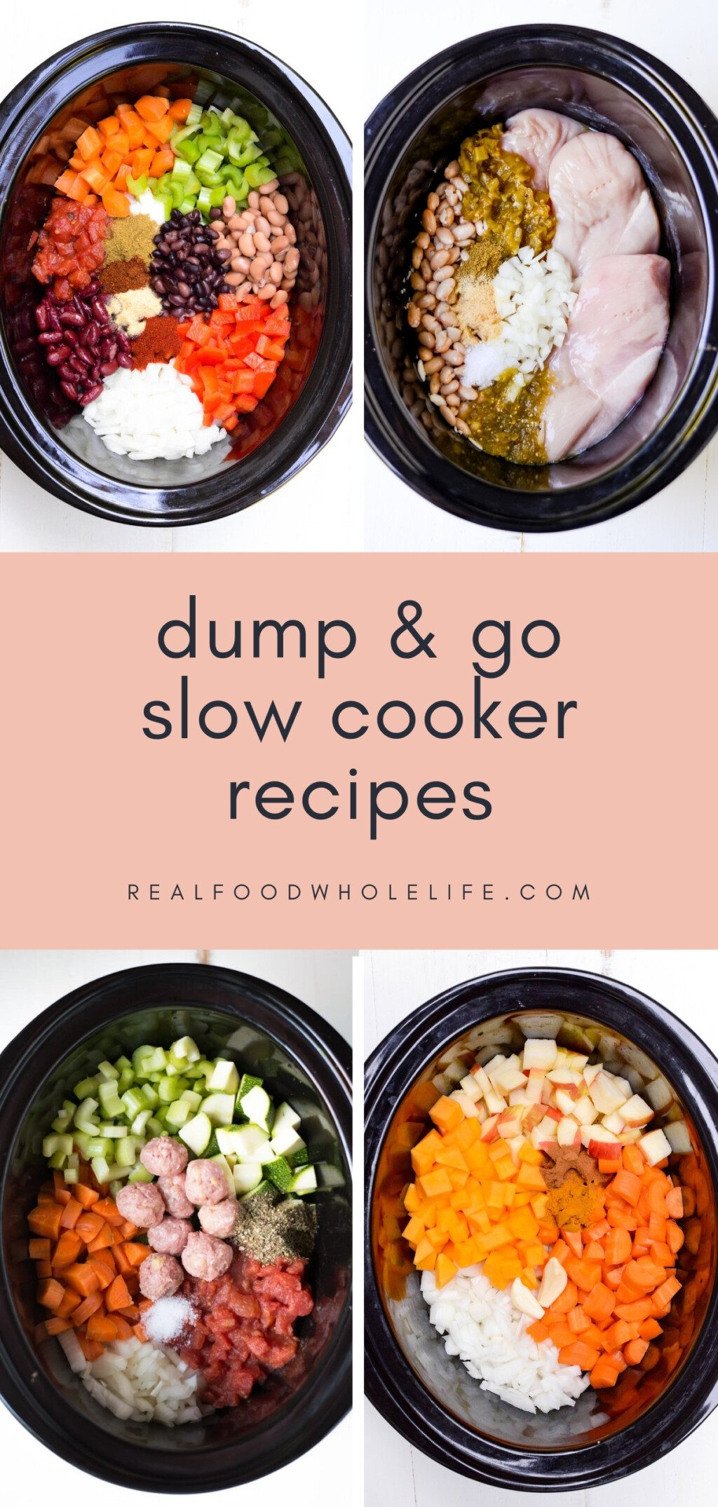 collage of four dump and go slow cooker recipes in black crockpots with pink background and navy text