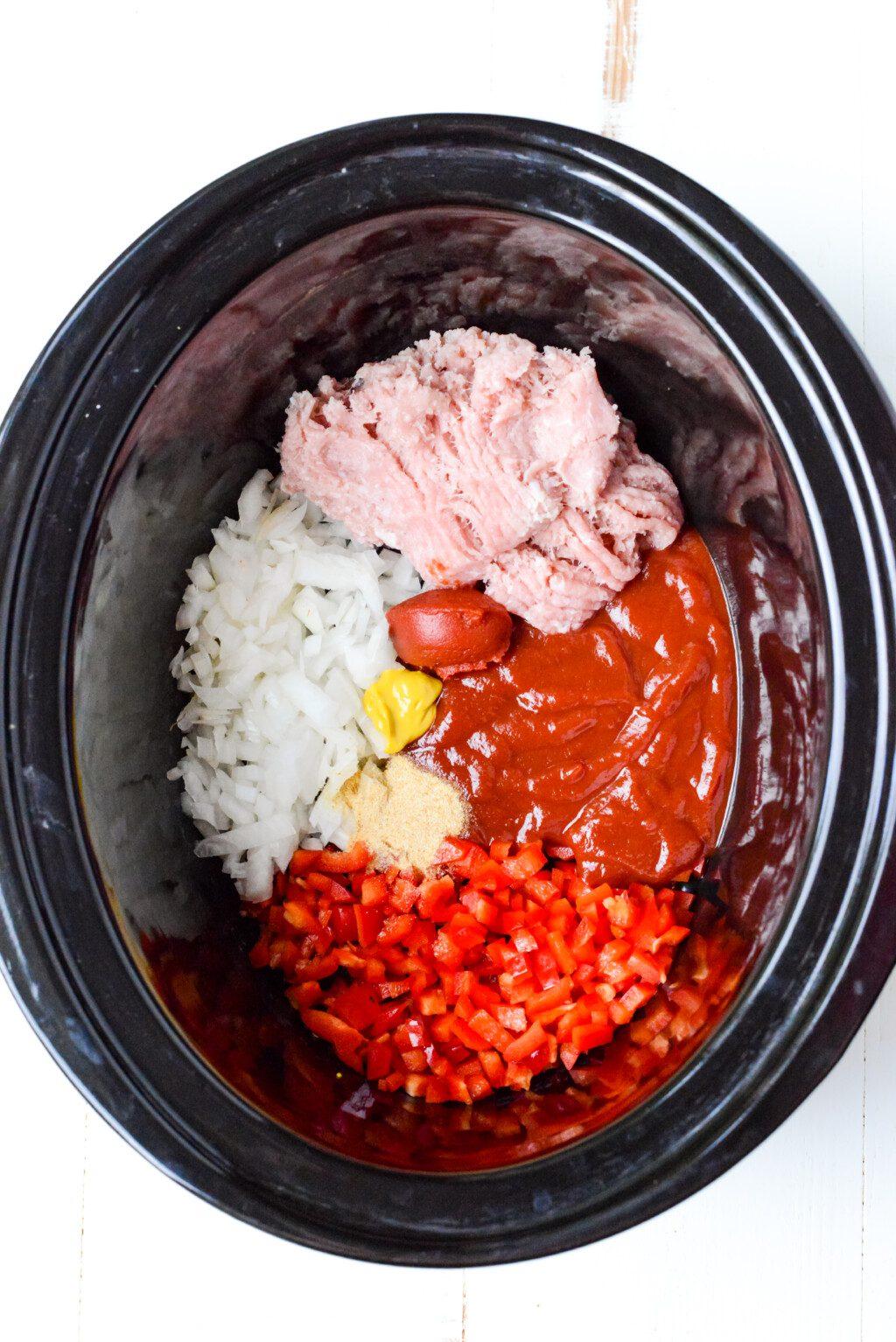 top down view of slow cooker turkey sloppy joes ingredients